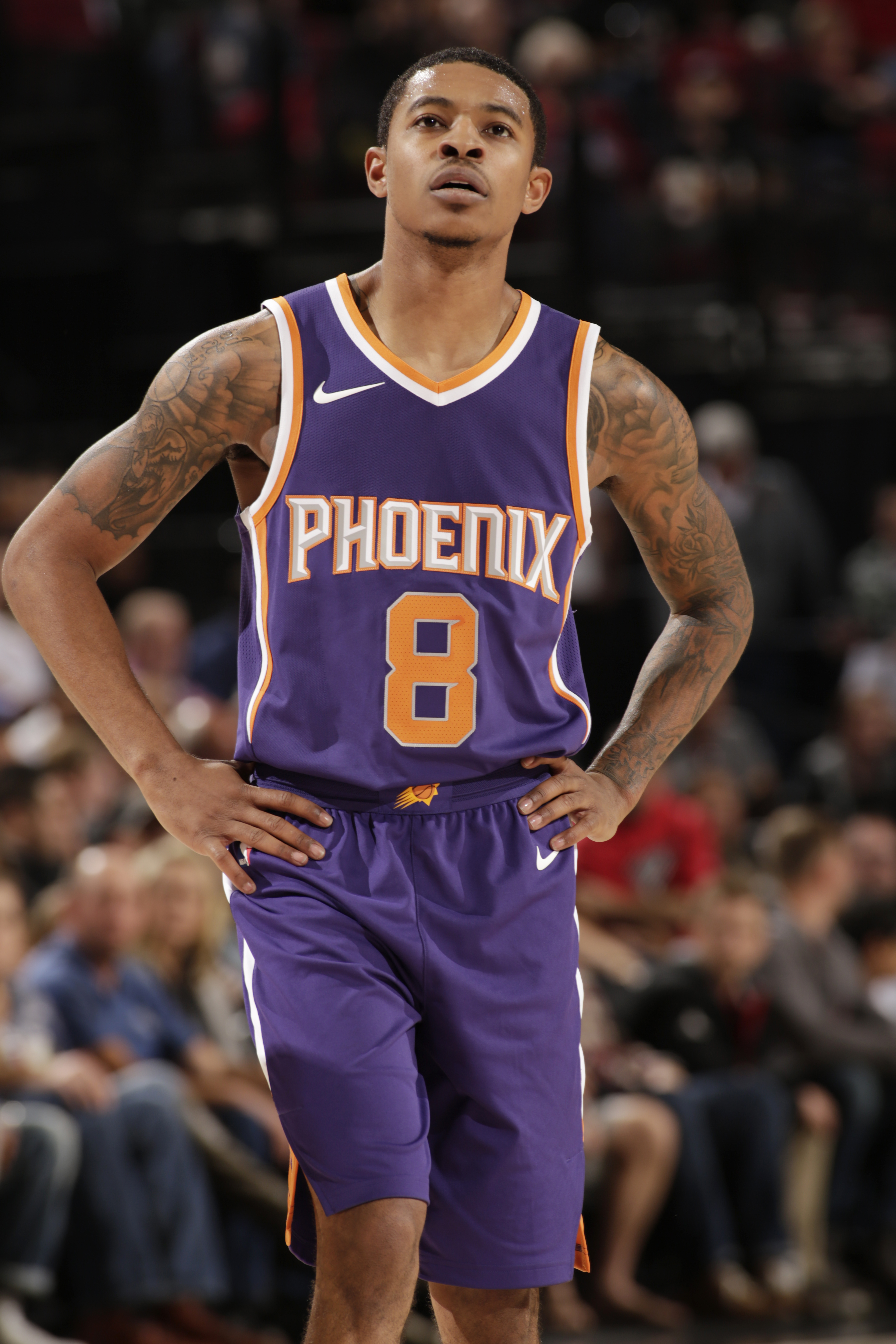 """141a1ed58 ... OR – OCTOBER 3 Tyler Ulis 8 of the Phoenix Suns looks on during Tyler  Ulis on Instagram """" ..."""