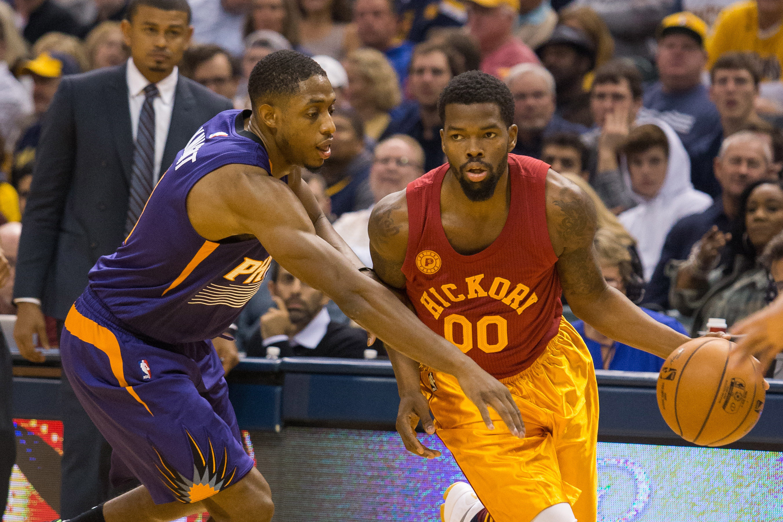 Nov 18 2016 Indianapolis IN USA Indiana Pacers Guard Aaron Brooks 00 Dribbles The Ball While Phoenix Suns Brandon Knight 11 Defends In